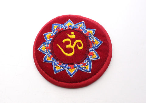 Hindu Om Embroidered Round and Light Weight Singing Bowl Cushion - NepaCrafts