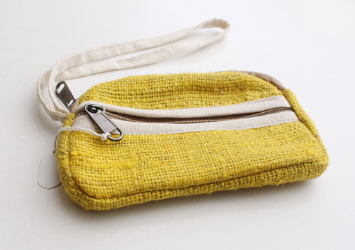 100% Natural and Pure Bright Yellow Hemp Money/Cosmetics Purse - nepacrafts