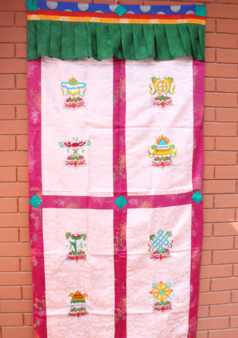 Handmade Tibetan Door Curtain Embroidered with 8 Auspicious Symbol