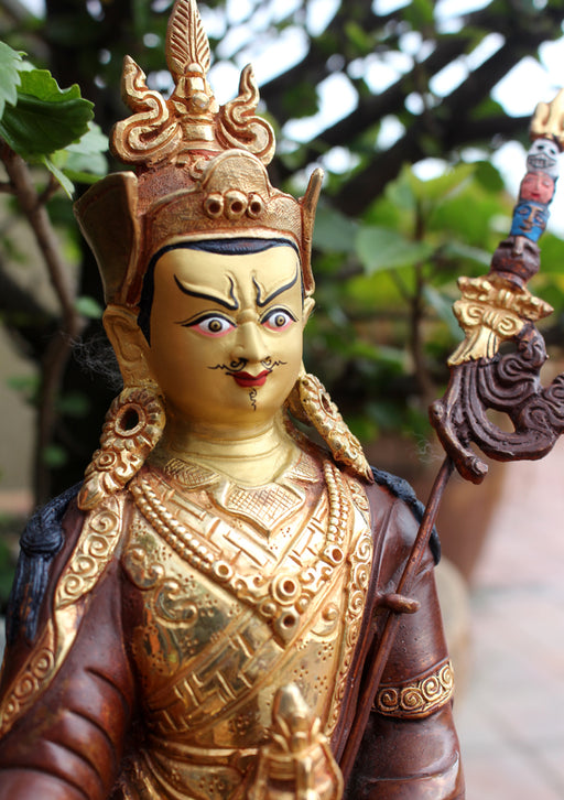 The Great Apostle Padmasambhava Statue-Gold Plated Copper Statue - nepacrafts