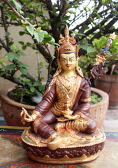 The Great Apostle Padmasambhava Statue-Gold Plated 8 Inch Copper Statue - NepaCrafts