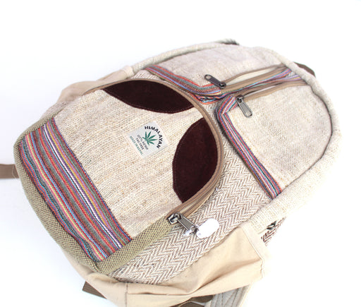 Hemp Backpack: Extra Front Zipper Pouches - nepacrafts
