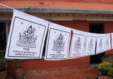 Chenrezig Printed Tibetan Prayer Flag, All White Chenrezig Cotton Prayer Flag - NepaCrafts