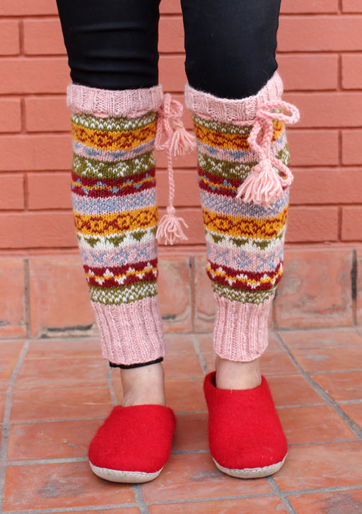 Light Pink Multicolor Hand Knitted Winter Legwarmers - nepacrafts