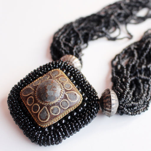 Multi Strand Black Glass Beads Crocheted Tibetan Pendant Necklace - nepacrafts