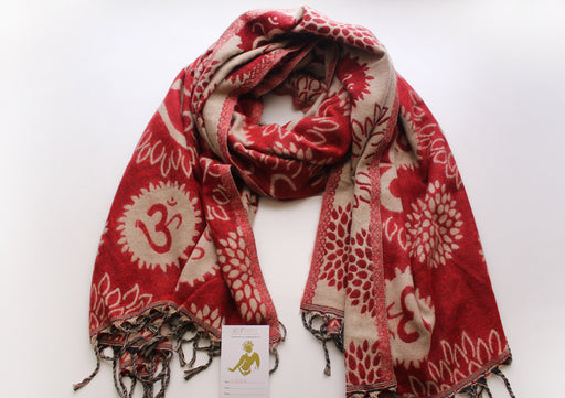 Red Color Hindu OM Printed Hand Loomed Himalayan Yak Wool Shawl - nepacrafts