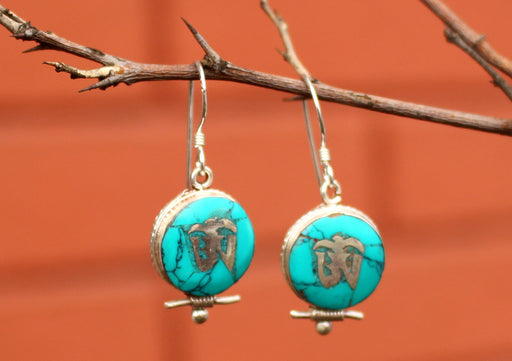 Turquoise Inlaid Tibetan Om Sterling Silver Earrings - nepacrafts