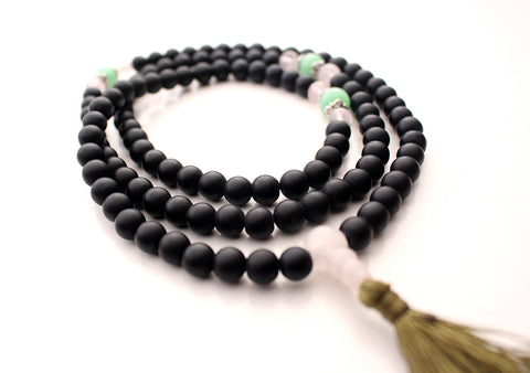 Green Onyx Spacer 108 Black Beads Prayer Mala with Green Tassel - NepaCrafts