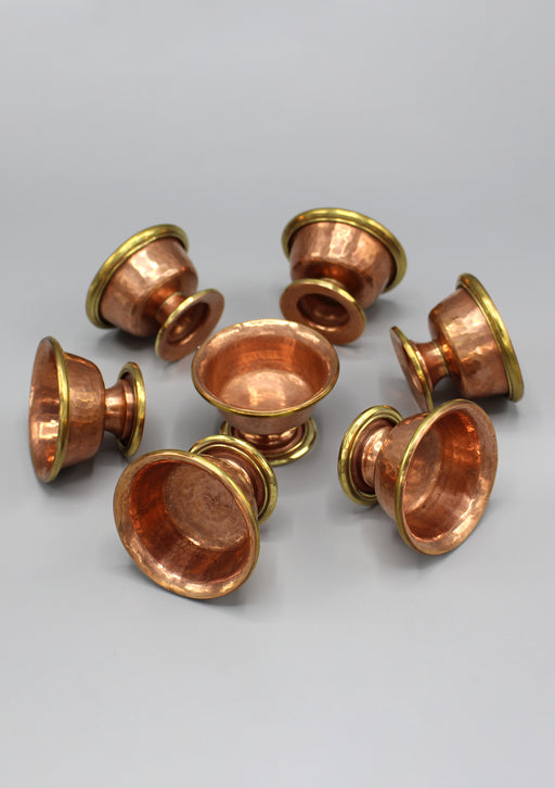 Set of 7 Copper Tibetan Offering Bowl - nepacrafts