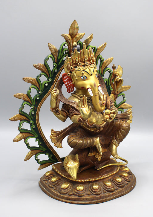 Gold Plated Lord Ganesha Statue Seated on Mouse
