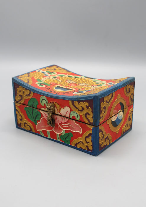 Cheppu and Lotus Painted Tibetan Wooden Box