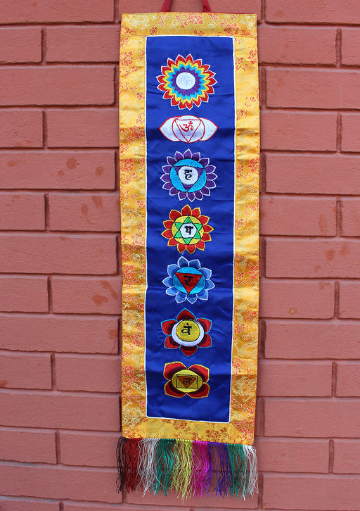Seven Chakra Embroidered Blue Polyester Wall Hanging Banner
