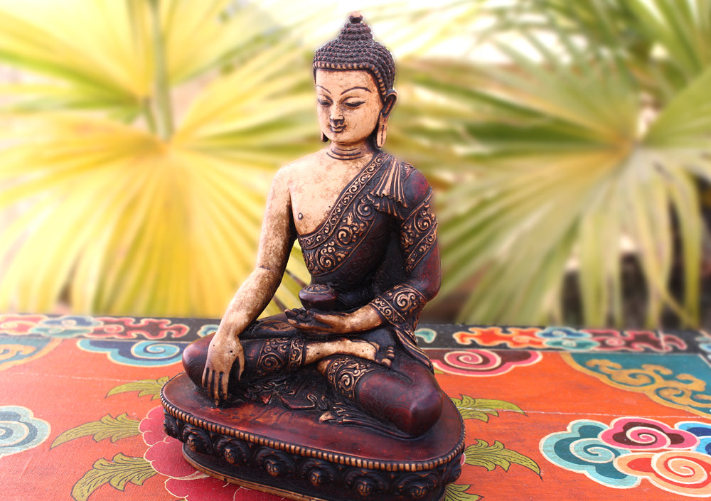 "Floral Motif Carved Brown Resin Shakyamuni Buddha Statue 9"" - nepacrafts"