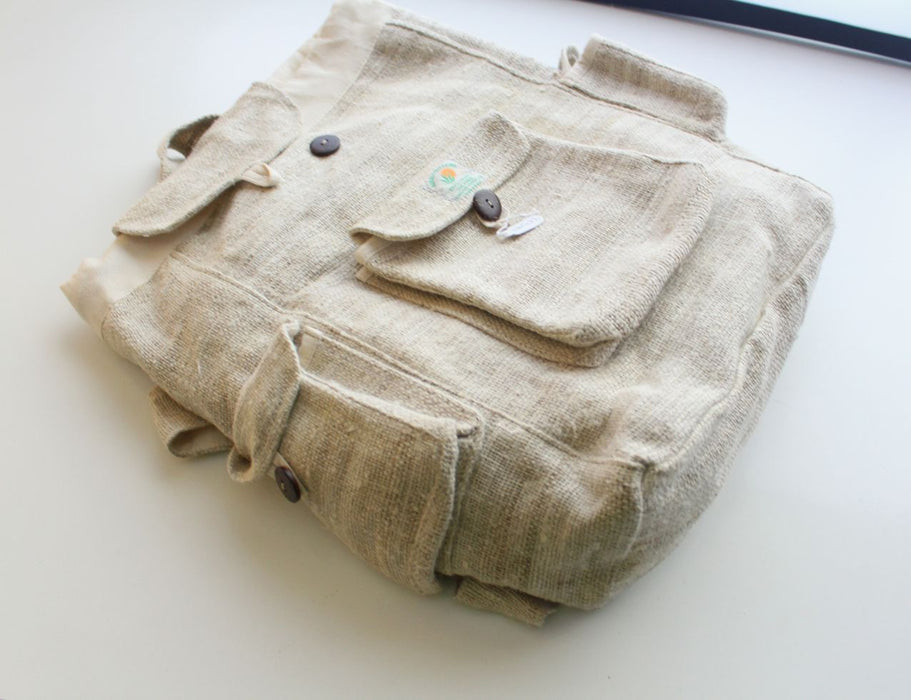 Off White Earthy Multi Pocket Hemp Rucksack - nepacrafts