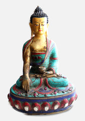 "13"" High Shakyamuni Buddha Statue Inlaid Turquoise and Coral - NepaCrafts"