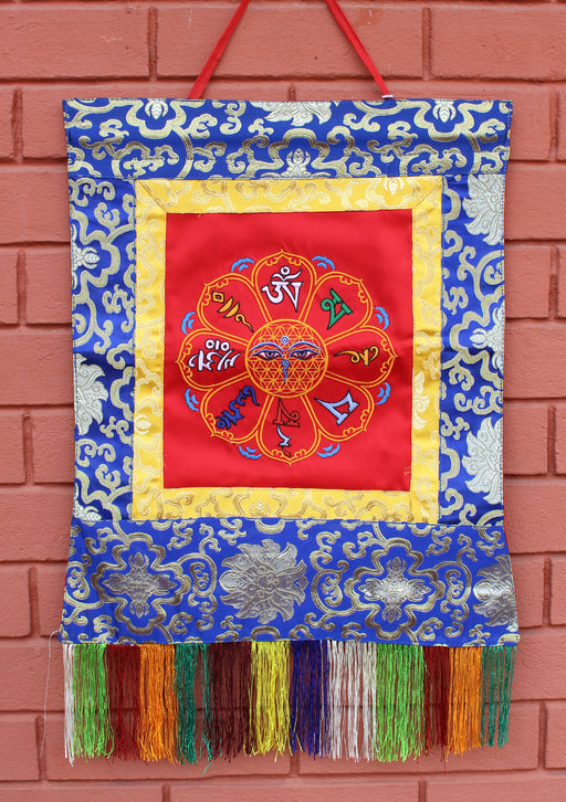 Buddha Eyes Om Mani Padme Hum Embroidered Wall Hanging