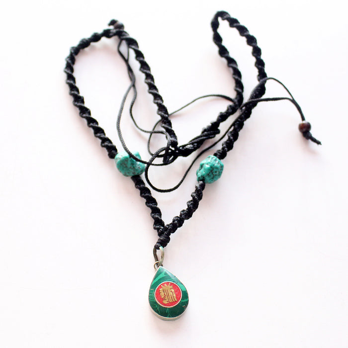 Tear Drop Green Kalachakra Pendant - nepacrafts
