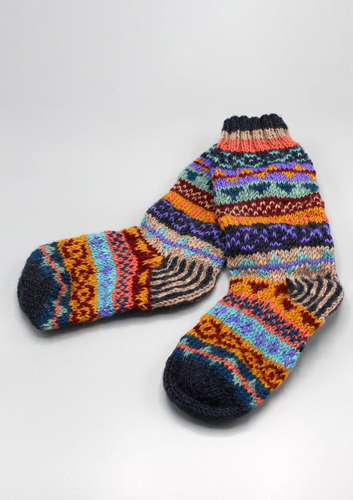 Dark Blue Multicolored Children Woolen Socks