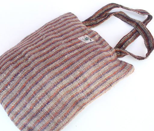 Striped Reusable Hemp Shoulder Bag - nepacrafts