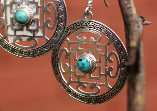 Tibetan Mandala Inlaid Turquoise Silver Sterling Earrings - nepacrafts