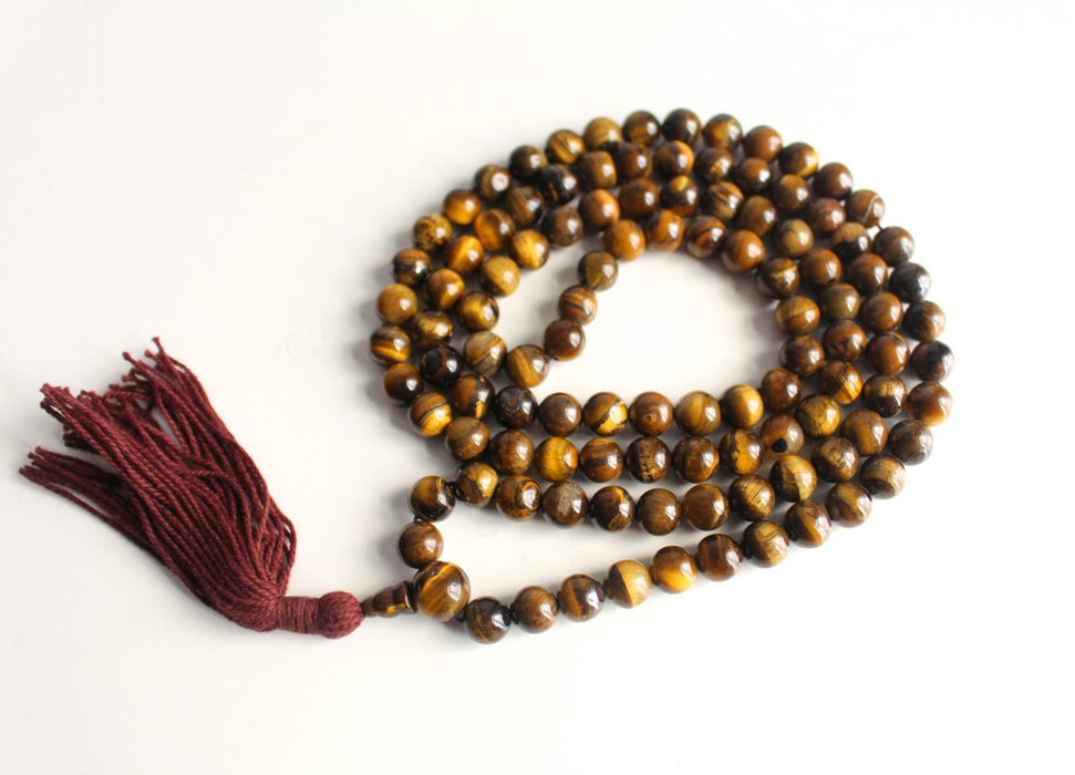 Tigers Eye Prayer Mala 8 mm