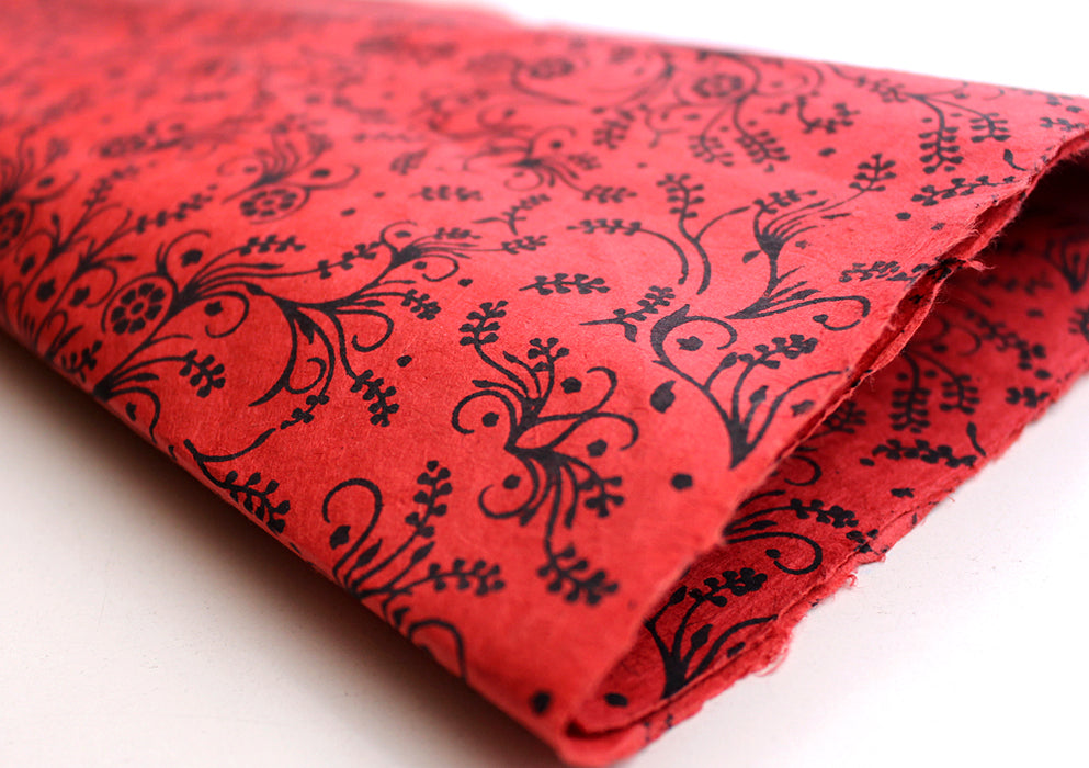 Black Flower & Leaf Printed Red Handmade Gift Wrapping Lokta Paper Sheets - nepacrafts