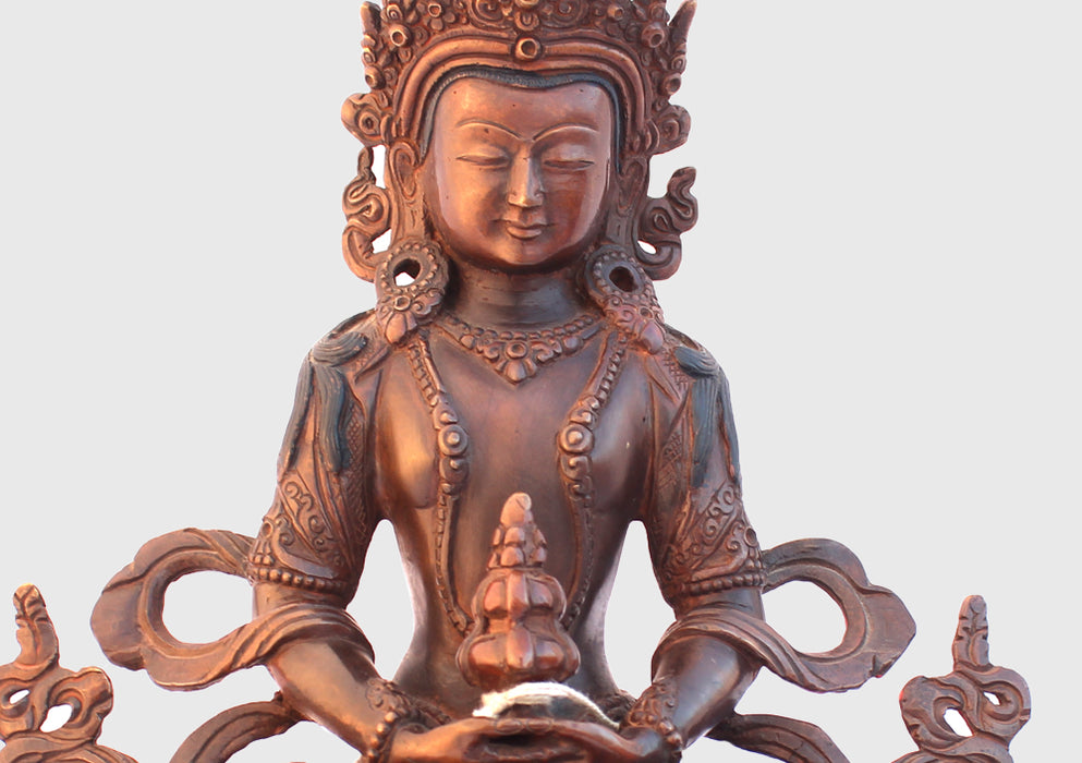 Copper Oxidized Fully Carved Aparmita Buddha Statue 8 Inch BST115 - nepacrafts