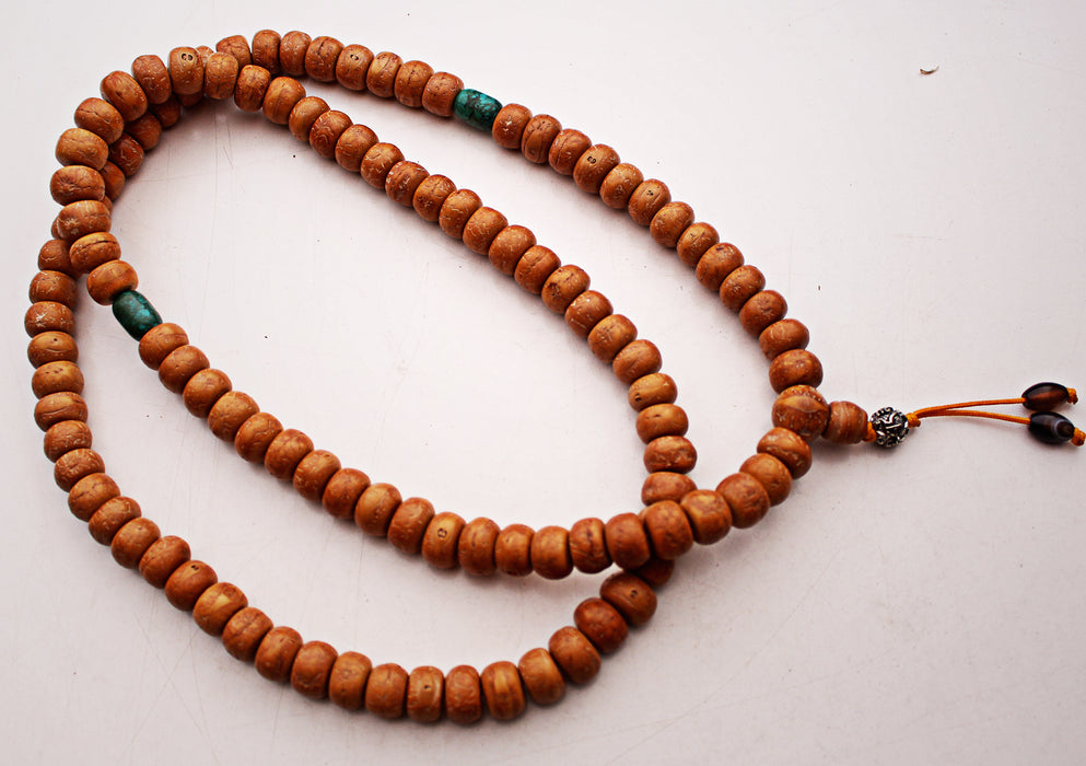 Bodhi Prayer Mala with Turquoise Spacer - nepacrafts