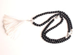Black Shaligram Prayer Beads Mala with Clear Crystal Beads Spacer