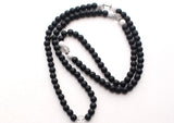 Black Prayer Beads Mala with Clear Crystal Beads Spacer - NepaCrafts