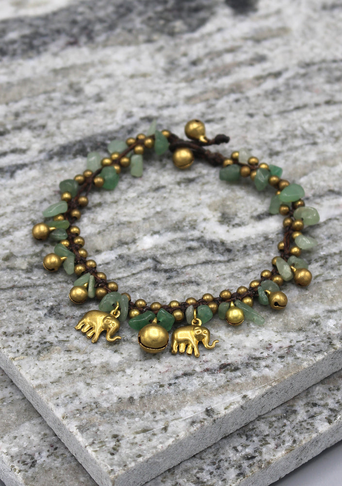 Colorful Stone Chip Women's Brass Bell Anklet - nepacrafts