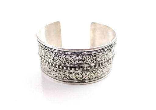 White Metal Fine Filigree Carving Handmade Cuff Bracelet - nepacrafts
