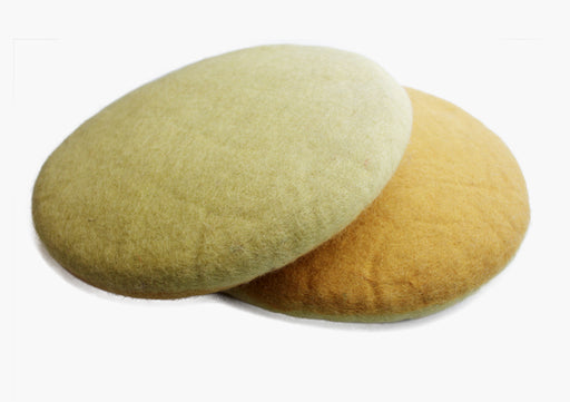 Round Mustard Color Two Sided Meditation Cushion - nepacrafts