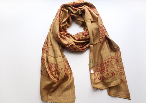 Cotton Meditation Scarf with Elephant Print, Light Brown Jari Shawl/Scarf - nepacrafts