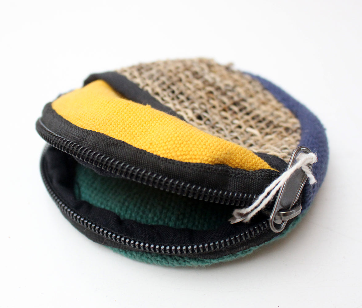 Multicolored Hemp Round Zipper Coin Pouch - nepacrafts