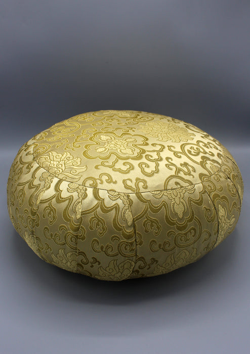 Round Stuffed Brocade Meditation and Yoga Cushion - nepacrafts