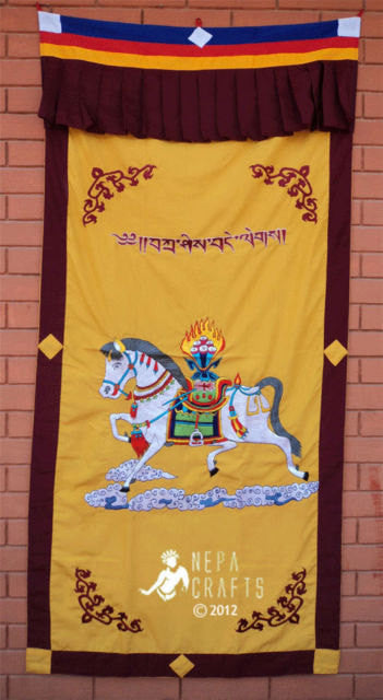 Tibetan Spun Silk Windhorse Door Curtain - nepacrafts