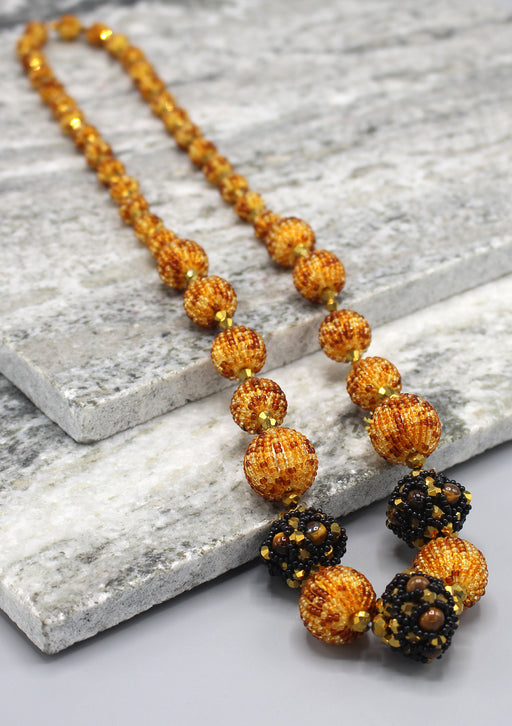 Shiny Golden and Maroon Glass Seed Beads Necklace - nepacrafts