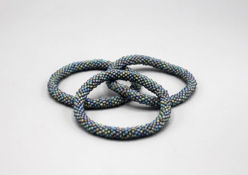 Gray and Blue Multicolor Roll on Bracelet - nepacrafts