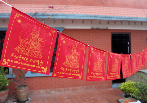 All Red Guru Padhmasambhava Tibetan Prayer Flag - nepacrafts