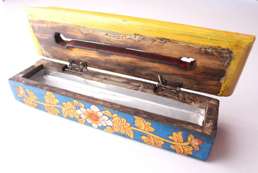 Hand Painted Medium Sized Wooden Incense Burner Box - nepacrafts