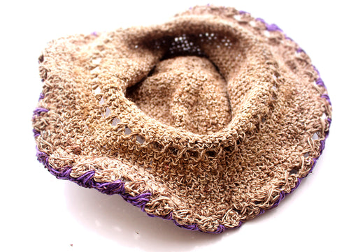 Hemp Hat with Purple Lining, Earthy Travel Hat, Hemp Tourist Hat HC003 - nepacrafts