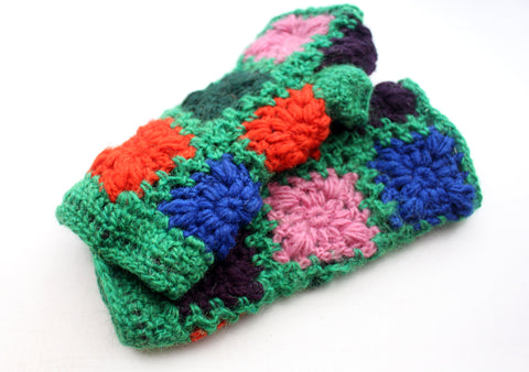 Attractive Green, Pink and Orange Color Finger Less Gloves - NepaCrafts