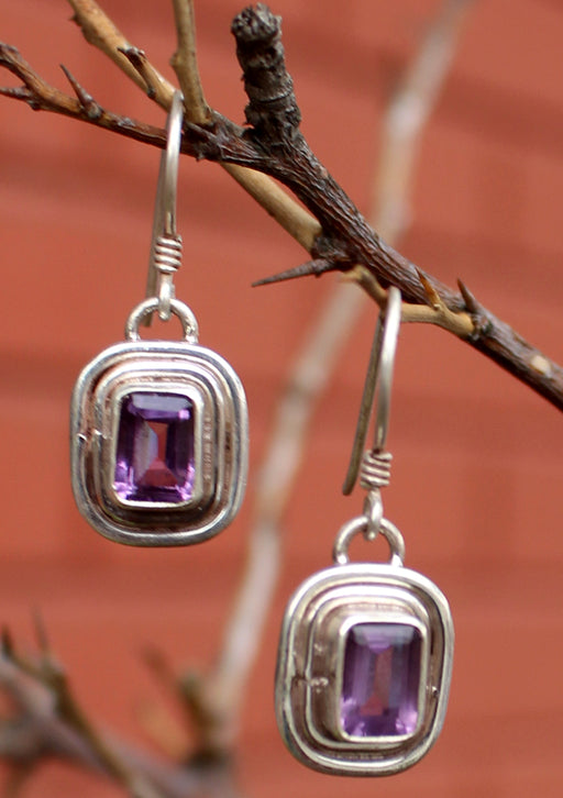 Silver Amethyst Single Drop Earrings - nepacrafts