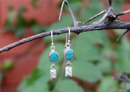 Turquoise Inlaid Round Silver Drop Earrings - nepacrafts