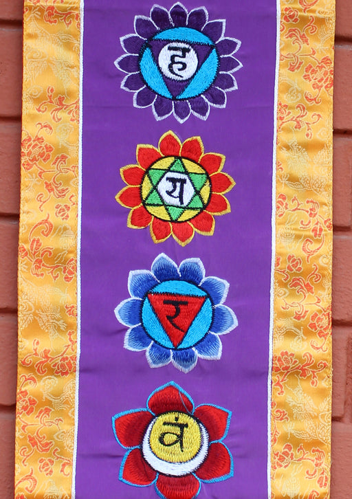 Seven Chakra Embroidered Purple Polyester Wall Hanging Banner - nepacrafts
