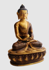 Partly Gold Plated Amitabh Buddha Copper Statue
