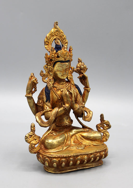 Gold Plated Chenrezig Statue 6""