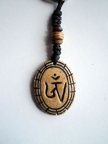 Brown Tibetan Om Bone Keychains - nepacrafts