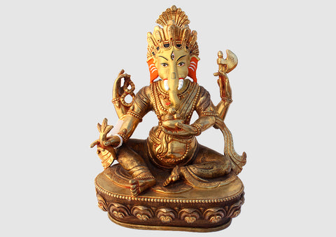 "Gold Plated Majestic Lord Ganesha Statue 9"" High SST194"